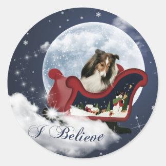 Magic Christmas Sheltie Round Sticker