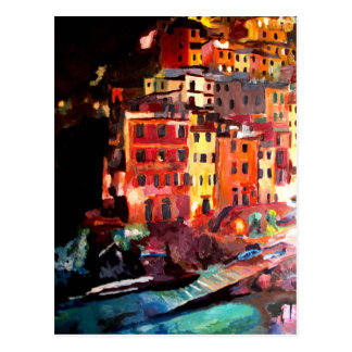 Magic Cinque Terre Night in Riomaggiore Postcard