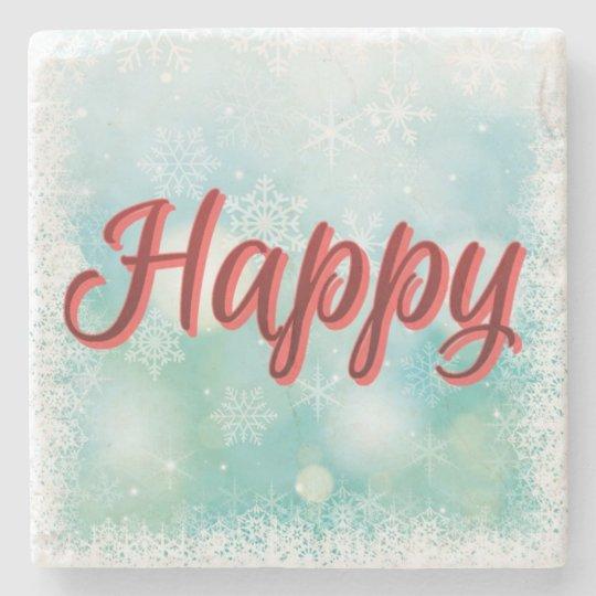 """Magic"" Coasters Happy, Healthy, Wise, Wealthy Stone Beverage Coaster"