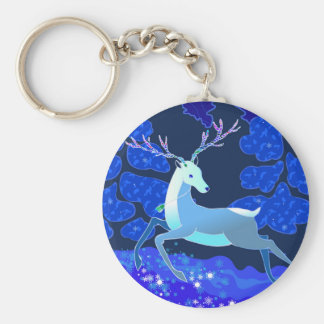 Magic Cute Christmas Deer with bell Basic Round Button Keychain