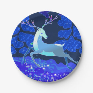 Magic Cute Christmas Deer with bell Paper Plate