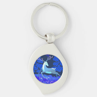 Magic Cute Christmas Deer with bell Silver-Colored Swirl Keychain