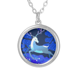 Magic Cute Christmas Deer with bell Silver Plated Necklace