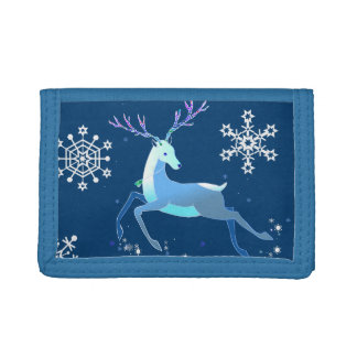 Magic Cute Christmas Deer with bell Tri-fold Wallets