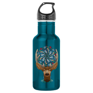 Magic Cute Forest Deer with flourish spring symbol 532 Ml Water Bottle