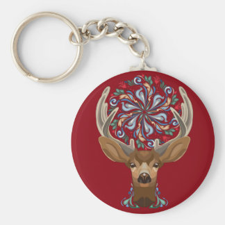 Magic Cute Forest Deer with flourish spring symbol Basic Round Button Keychain