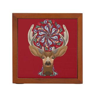 Magic Cute Forest Deer with flourish spring symbol Desk Organizer