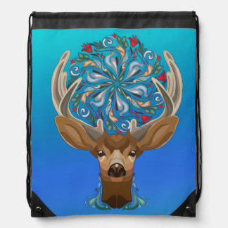 Magic Cute Forest Deer with flourish spring symbol Drawstring Bag