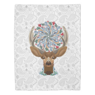 Magic Cute Forest Deer with flourish spring symbol Duvet Cover