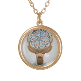 Magic Cute Forest Deer with flourish spring symbol Gold Plated Necklace