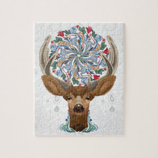 Magic Cute Forest Deer with flourish spring symbol Jigsaw Puzzle