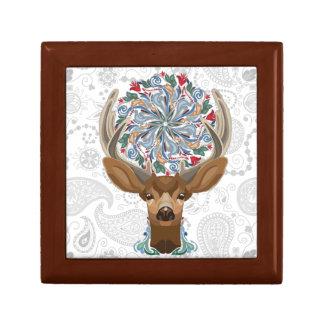 Magic Cute Forest Deer with flourish spring symbol Keepsake Box