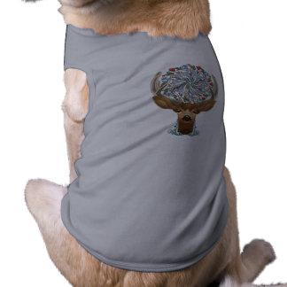 Magic Cute Forest Deer with flourish spring symbol Pet T Shirt