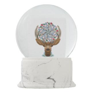 Magic Cute Forest Deer with flourish spring symbol Snow Globe