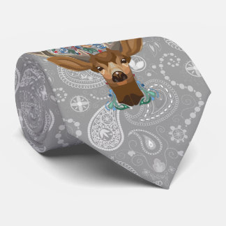 Magic Cute Forest Deer with flourish spring symbol Tie
