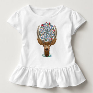 Magic Cute Forest Deer with flourish spring symbol Toddler T-shirt
