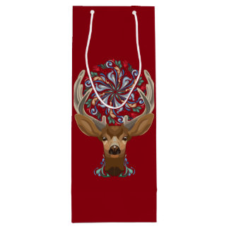 Magic Cute Forest Deer with flourish spring symbol Wine Gift Bag