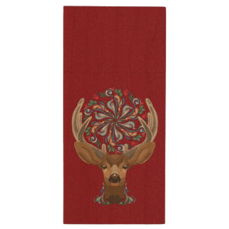 Magic Cute Forest Deer with flourish spring symbol Wood USB Flash Drive