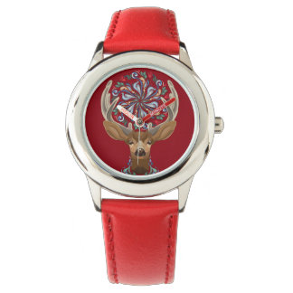 Magic Cute Forest Deer with flourish spring symbol Wristwatch