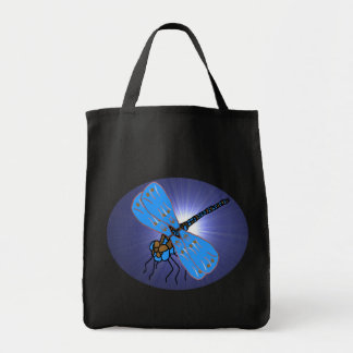 Magic Dragon-Fly Tote Bag Blue on Black