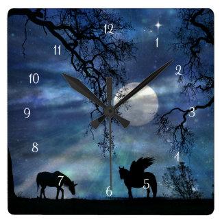 Magic Fantasy Unicorn and Pegasus Clock