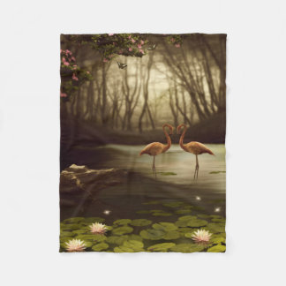 Magic Flamingos Small Fleece Blanket