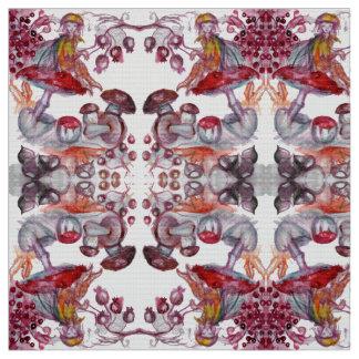MAGIC FOLLET OF MUSHROOMS Red White Flora Fantasy Fabric