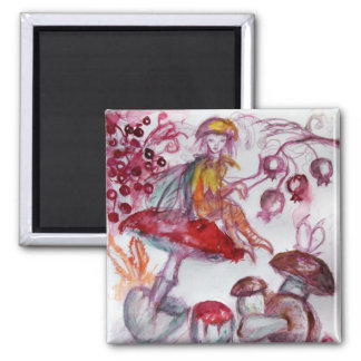 MAGIC FOLLET OF MUSHROOMS Red White Floral Fantasy Square Magnet