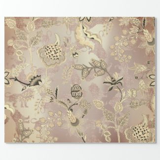Magic Garden Lions Floral Rose Gold Oriental Wrapping Paper