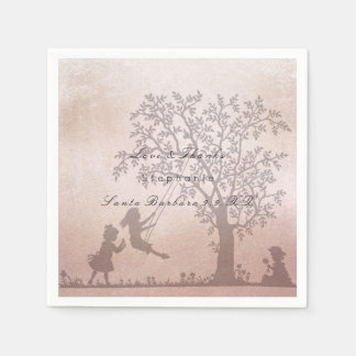 Magic Garden Tree Children Pink Rose Gold Name Paper Napkins
