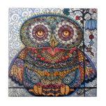 Magic graphic owl painting ceramic tile