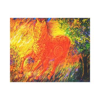 Magic horse running from fire -Magic creatures Art Canvas Print