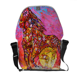 Magic horse running in surf. messenger bags