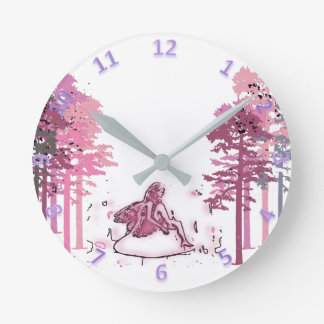 Magic Hour Fairy Forest Round Clock