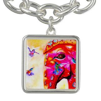 """Magic in All Sizes"" Hummingbirds & Elephant Print Charm Bracelet"