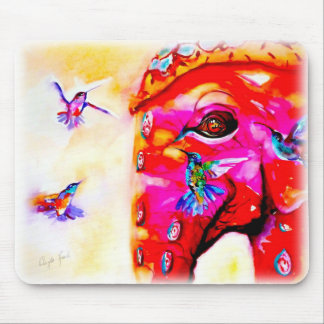 """""""Magic in All Sizes"""" Hummingbirds & Elephant Print Mouse Pad"""