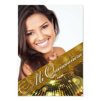 "Magic Lights Photo Quinceanera - gold 5"" X 7"" Invitation Card"