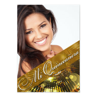 Magic Lights Photo Quinceanera - gold Card
