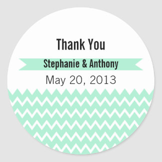 Magic Mint and White Chevron Pattern Thank You Classic Round Sticker