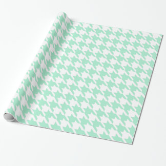 Magic Mint and White Houndstooth Pattetrn