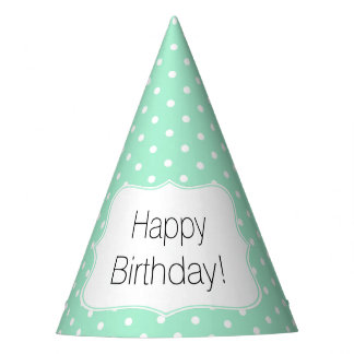 Magic Mint and White Polka Dot Birthday Party Party Hat