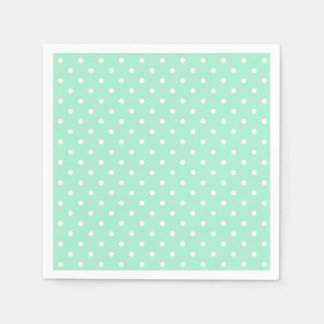 Magic Mint and White Polka Dot Pattern Disposable Napkins