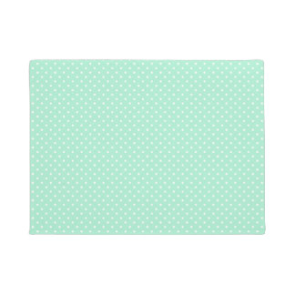 Magic Mint and White Polka Dot Pattern Doormat