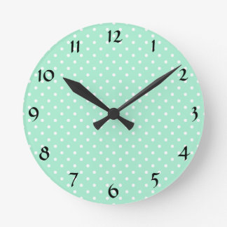 Magic Mint and White Polka Dot Pattern Round Clock