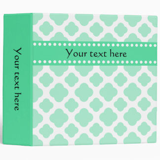 Magic Mint and White Quatrefoil Pattern Vinyl Binders