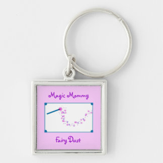 Magic Mommy Fairy Dust Silver-Colored Square Keychain