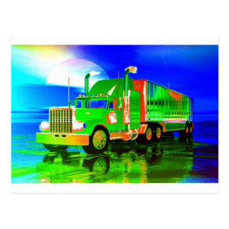 magic neon truck postcard