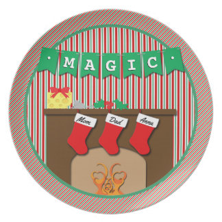 Magic • Night Before Christmas • 3 Stockings Plate