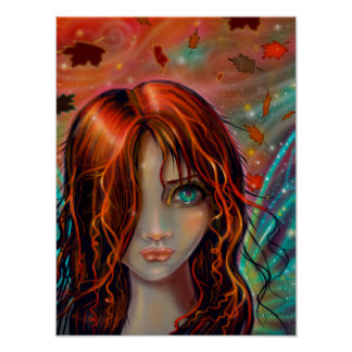 Magic of Autumn Fantasy Fairy Art 12 x 16 Poster