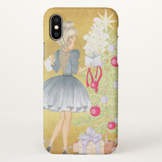 Magic of Christmas - Blonde Decorating A Tree iPhone X Case